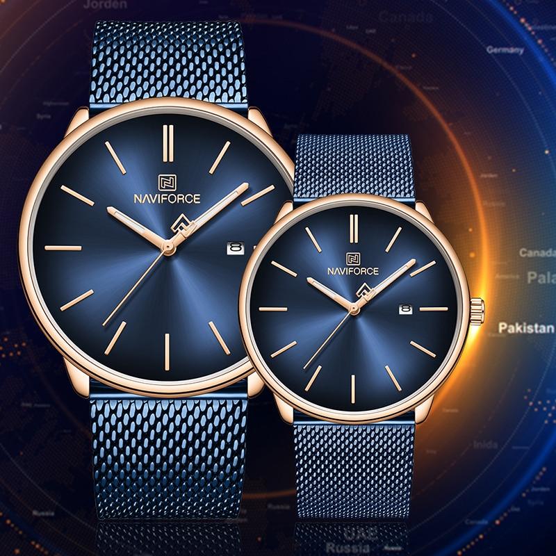 NAVIFORCE Watch Couple Fashion Casual Men's Watches Full Steel Mesh Lovers Quartz Wristwatch Waterproof Women Relogio Masculino