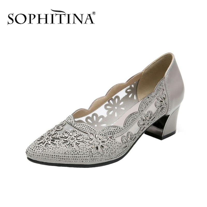 SOPHITINA Rhinestone Fashion Pumps High Quality Genuine Leather Square Heel Comfortable Shoes Shallow New Women's Pumps PO431