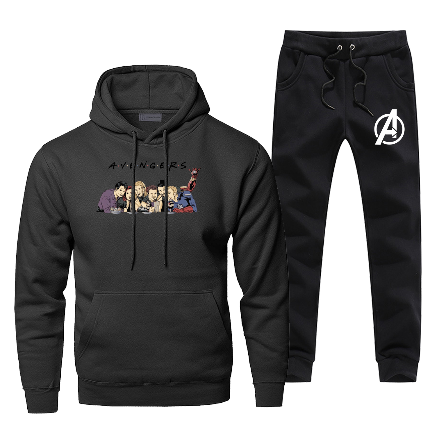 Fashion Marvel Avengers Endgame Friends Sweatshirts Men Casual Hoodies+pants 2piece Sets Marvel Avengers Sportswear Sweatpants