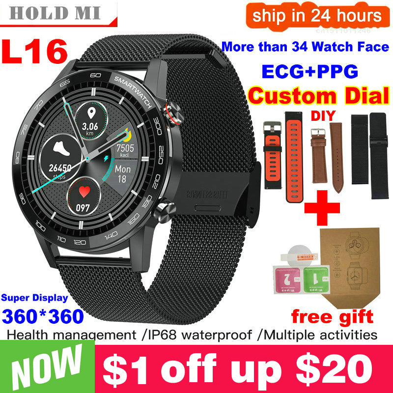 New L5 Update L16 Smart Watch Men IP68 Waterproof Multiple Sports Heart Rate Weather Forecast Fitness Smartwatch VS L13 GT2 1
