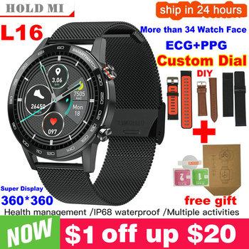 Nowa aktualizacja L5 L16 Smart Watch Men IP68 Wodoodporny tryb wielu sportów Tętno Prognoza pogody Bluetooth Smartwatch tanie i dobre opinie hold mi CN (pochodzenie) Brak Na nadgarstek Zgodna ze wszystkimi 128 MB Krokomierz Rejestrator snu Przypomnienie o połączeniu