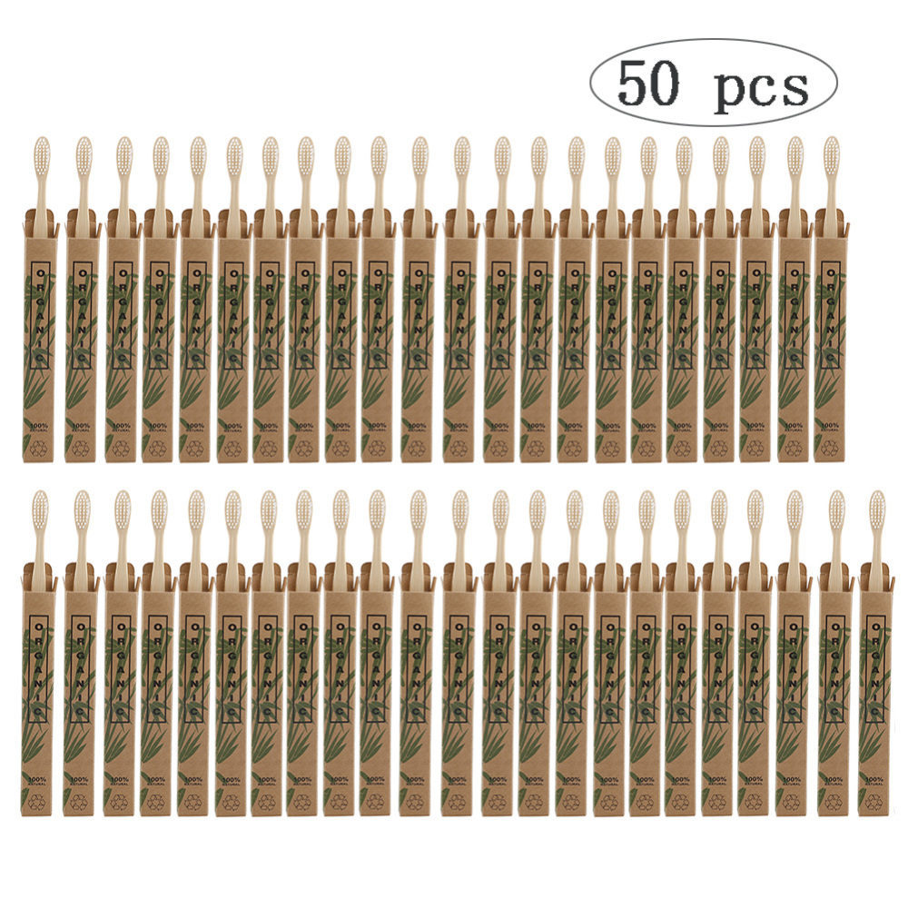 50 упаковок зубная щетка из натурального бамбука, Деревянные Зубные щетки, мягкие щетинки из капиллярного волокна, зубная щетка, экологичный...