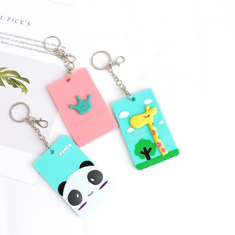 1Pc Cute Cartoon Panada Giraffe Bank Bus Hanging Neck Card Cover Access Card Bank Card Protection Bag Protection Kids Gift