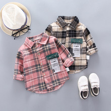 DIIMUU Spring Autum Kids Boys Cotton Shirts Infant Baby Boy Plaid Letter Print Tops Clothing Children Casual Clothing