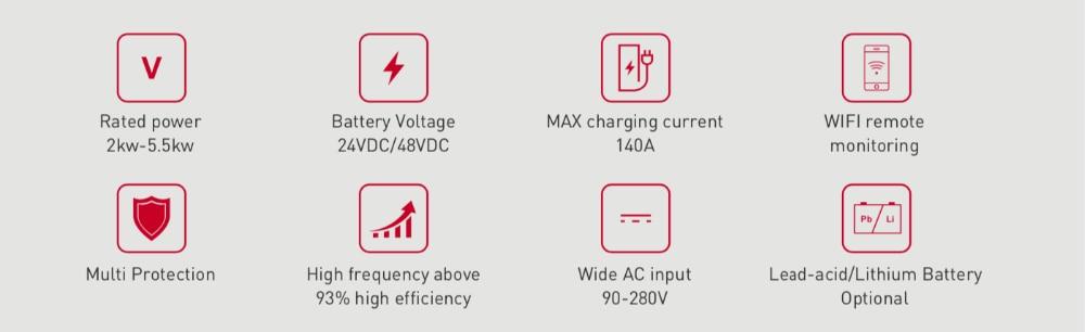 Ha3eeb1cd0bc64be6bff3921dc6596158y - 5000W MPPT Solar Hybrid Power Inverter 5KW on/off Grid Tie PV System with Energy Storage DC48V PH18-5048 PLUS