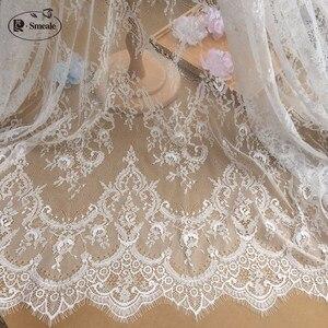 Image 1 - 3 m/grup fransız kirpik dantel kumaş 150cm beyaz siyah Diy zarif dantel nakış elbise düğün elbisesi aksesuarları RS702