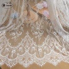 3 m/partia francuski tkanina koronkowa z rzęskami 150cm biały czarny Diy wykwintna koronka haftowana odzież dodatki do sukni ślubnej RS702