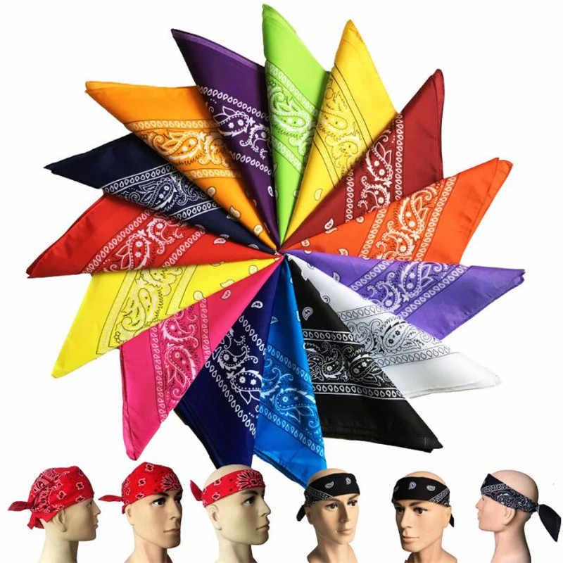 Модный головной убор унисекс в стиле хип-хоп, черный бандана, повязка на голову, шейный шарф, обертывания на запястье, квадратные шарфы, платок с принтом, высокое качество