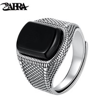 ZABRA Black Stone Ring Men Real 925 Sterling Silver Open Size Vintage Wedding Women Mens Rings Cubic Zirconia Onyx Jewelry