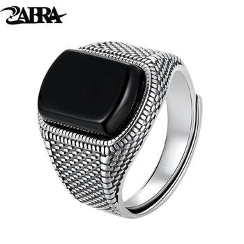 ZABRA Black Stone Ring Men Real 925 Sterling Silver Open Size Vintage Wedding Women Mens Rings Cubic Zirconia Onyx Jewelry