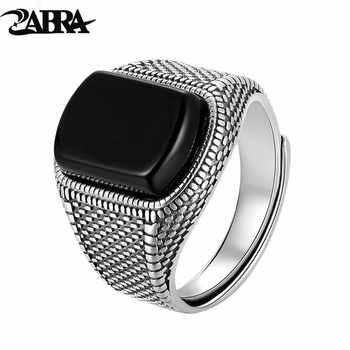ZABRA Black Stone Ring Men Real 925 Sterling Silver Open Size Vintage Wedding Women Mens Rings Cubic Zirconia Onyx Jewelry - DISCOUNT ITEM  50% OFF All Category