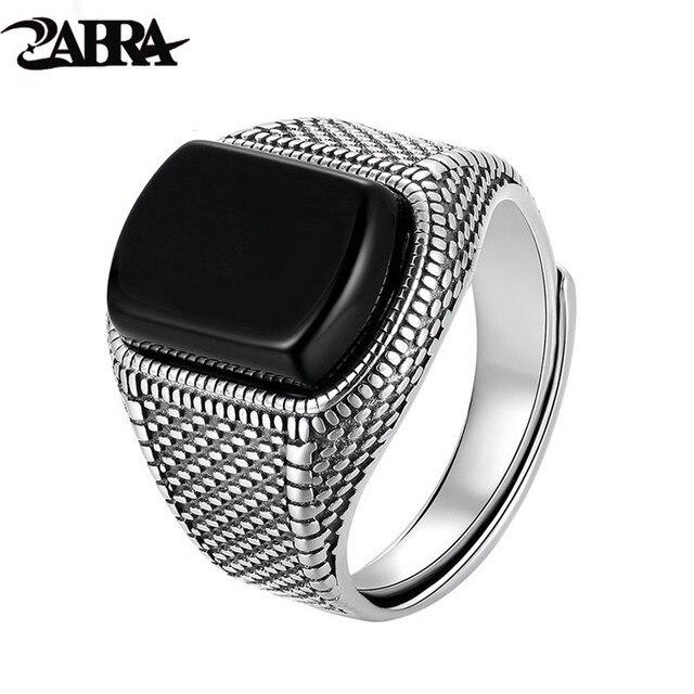ZABRA Schwarz Stein Ring Männer Echt 925 Sterling Silber Öffnen Größe Vintage Hochzeit Frauen Herren Ringe Zirkonia Onyx Schmuck