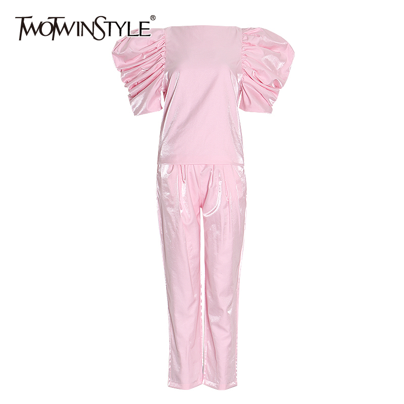 TWOTWINSTYLE Casual Pink Two Piece Set Women O Neck Puff Sleeve Shirt High Waist Ruched Pants Tunic Female Suit 2020 Clothes New