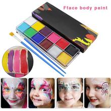 Professional Face Body Painting Oil 12 Colors Halloween Party Fancy Dress Painted Make Up Flash Tattoo Brushes 2pcs