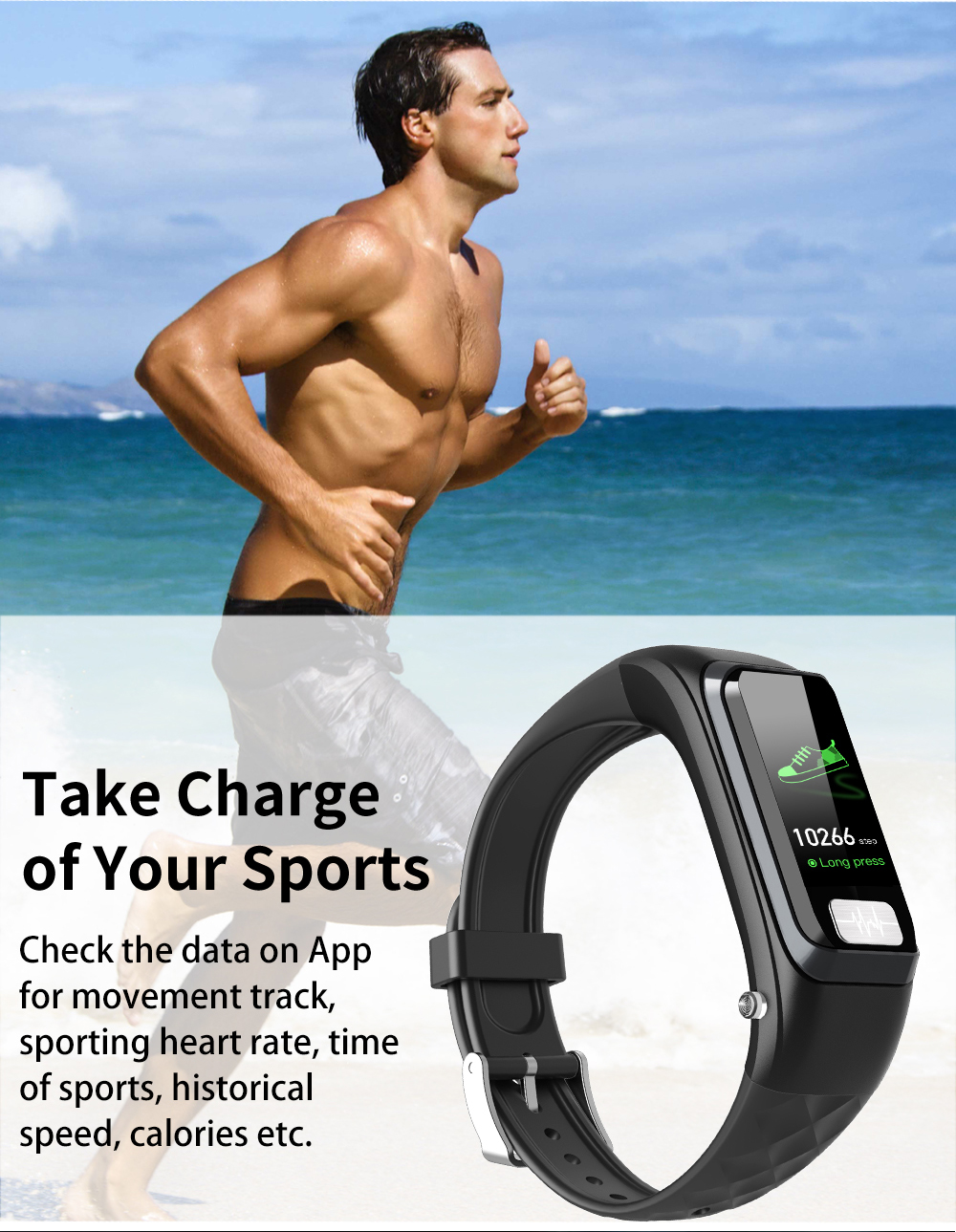 Cobrafly H207 bluetooth oortelefoon armband smart band horloge fitness tracke smart watch mannen vrouwen waterdichte smart armband ECG - 3