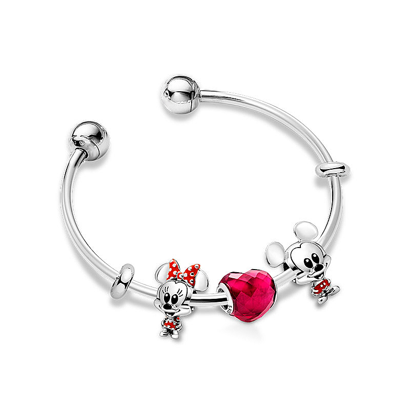 2020 New Original High Quality 100% S925 Silver Disney Cartoon Animal Romantic Love Zt0619 Bracelet Set Ladies Jewelry Gift