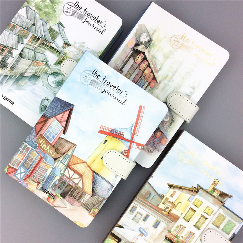 Small Fresh Hand Account 32K Color Page Magnetic Buckle Blank Notebook Coated Side Travel Account 3 Beautiful Town