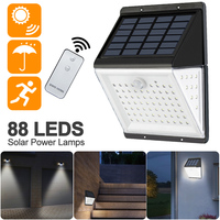Solar Power Lamp PIR Motion Sensor 88 LED Solar Wall Light Outdoor Waterproof IP65 Garden Yard Lamps With Remote Control 1/2pcs|Solar Lamps| |  -