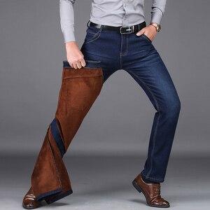 Image 4 - NIGRITY 2020 hiver hommes chaud polaire jean Stretch décontracté droit épais Denim flanelle jean doux pantalon grande taille 28 44