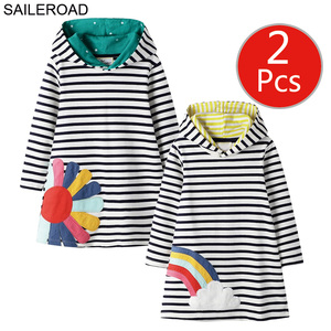 Image 5 - SAILEROAD 2pcs Girls Sweatshirts Hoodies Dress for Kids Long Sleeve Clothes Autumn Children Party Dress Cotton Kids Hooded Dress