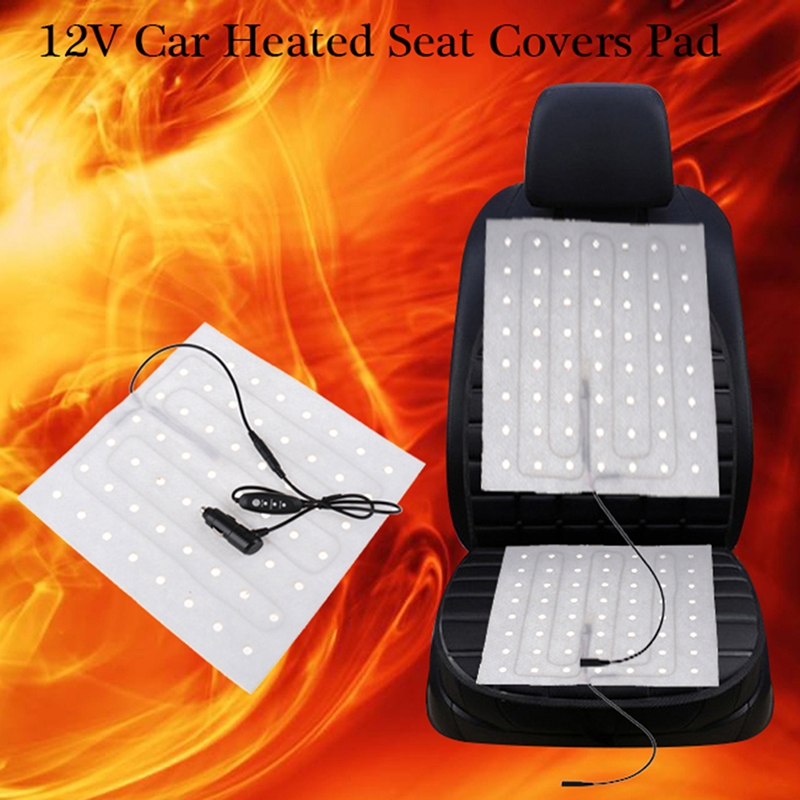 12V Universal Car Heated Seat Covers Pad Carbon Fiber Heated Auto Car Seat Heating Pad Winter Heater Mat Hi-Off-Low Switch Kit