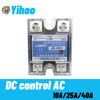 цена на Lobon10A 25A 40A DA Single Phase DC Control AC Heat Sink 3-32VDC to 24-480VAC SSR-10DA 25DA 40DA Plastic Cover Solid State Relay