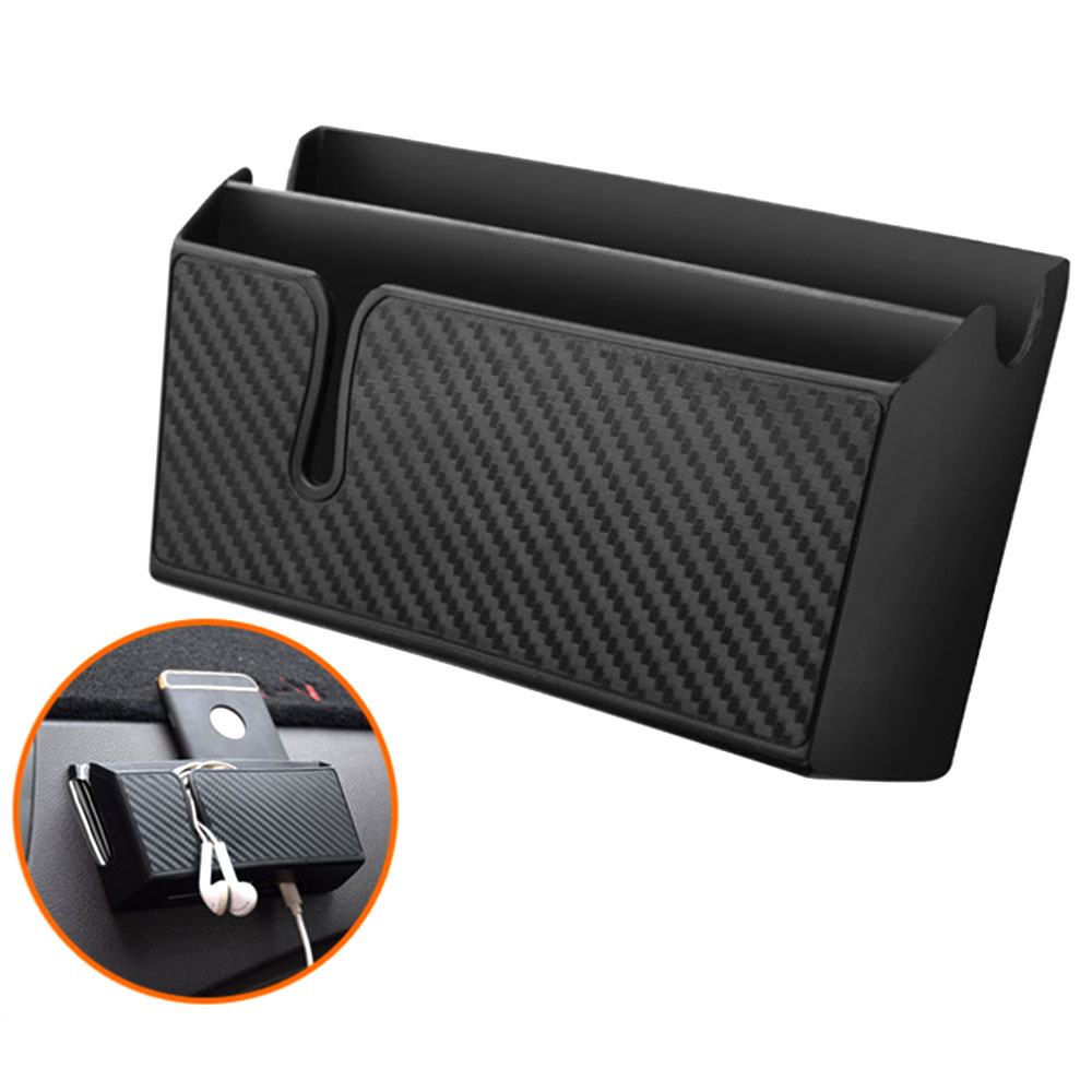 Carbon Fiber Pattern Car Dashboard Storage Box Car Mounted Mobile Phone Glove Box Organizer for Phone Sunglasses Keys