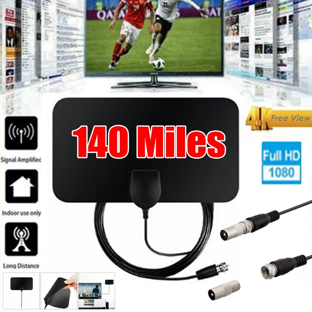 4K 25DB High Gain HD TV DTV Box Digital TV Antenna 140 Miles Booster Active Indoor Aerial HD Flat Design Fox DVB-T2 TV Antenna
