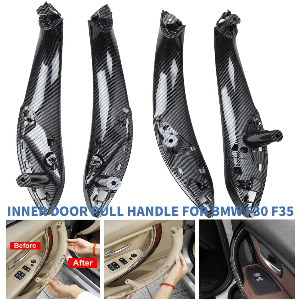 Estilo do carro de fibra de carbono frente traseira esquerda/direita interior do carro puxar maçaneta da porta guarnição capa para bmw f30 f80 f31 f32 f33 f35 13-18