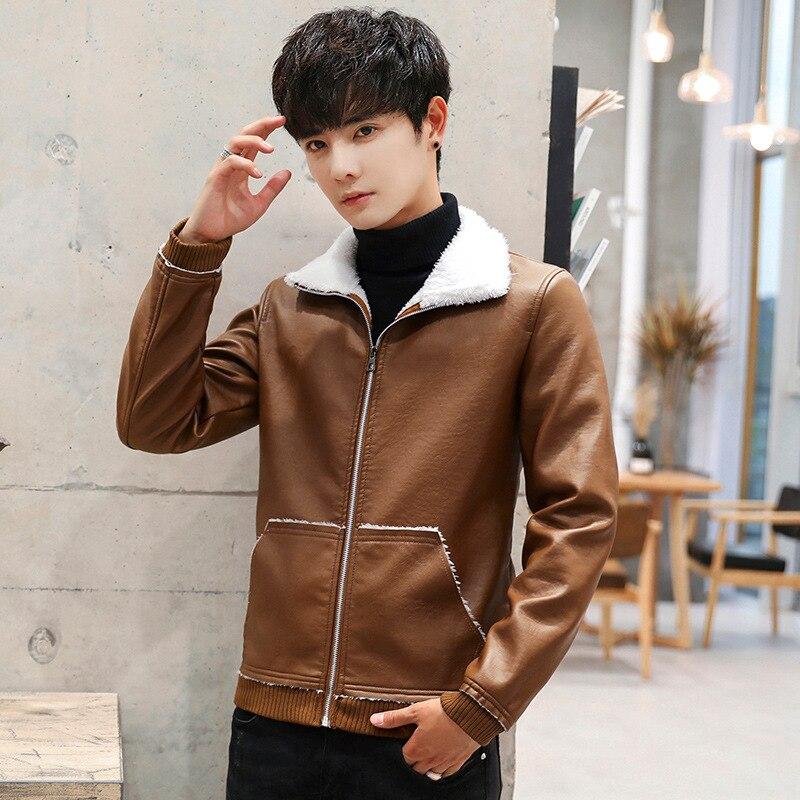 2019 Autumn & Winter Men's PU Leather Korean-style Coat Versatile Casual Large Size Men'S Wear Leather Jacket Fur Collar Locomot