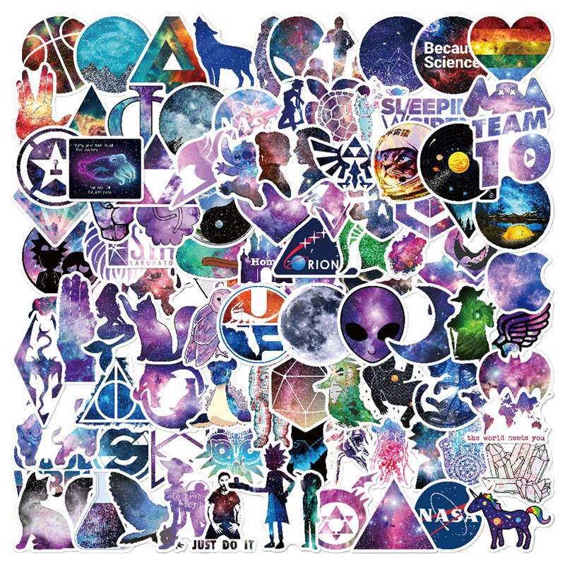 100 PCS Galaxy Stickers Luggage Bicycle Laptop Skin Funny Sticker For font b Apple b font