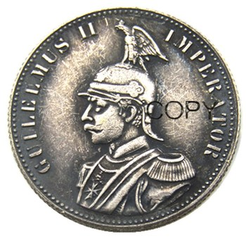1891 German East Africa 1/2 Rupie Coin Guilelmus II Imperator Silver Plated Copy coin image