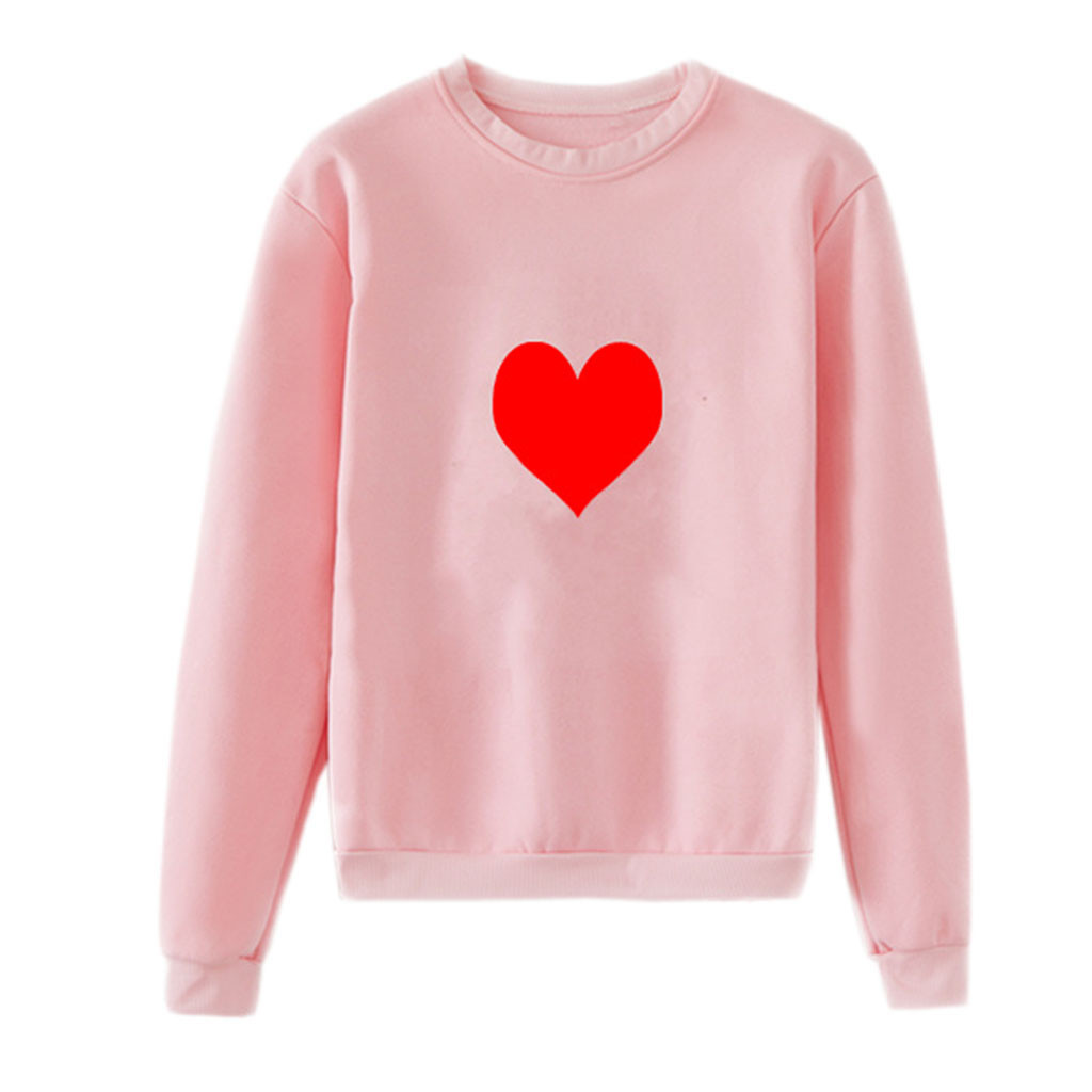 women t shirt autumn and winter long sleeves cotton Unisex Men Women Casual Long Sleeve O Neck Heart Printed Sweatshirt Pullover in T Shirts from Women 39 s Clothing