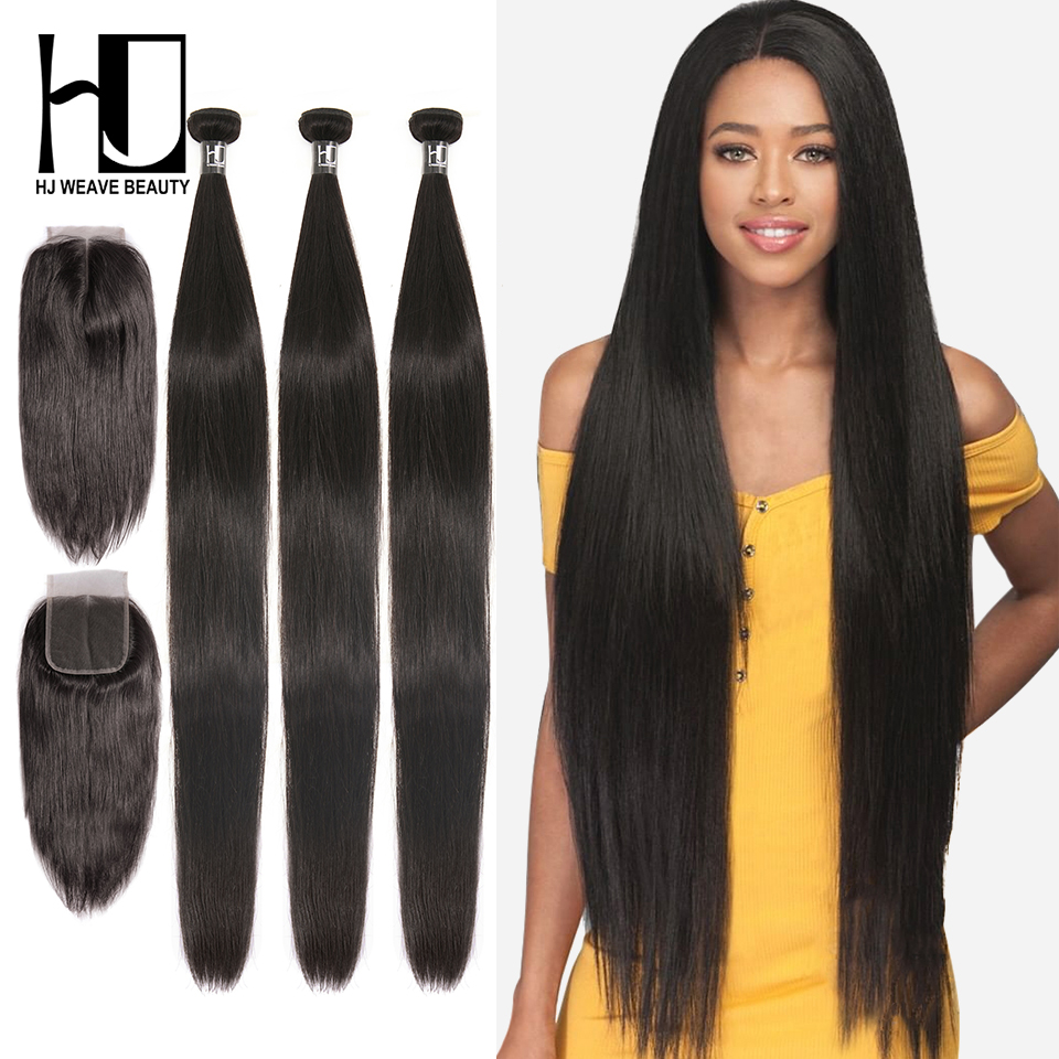 HJ Weave Beauty Straight Human Hair Bundles With Closure 28 30 32 40 Inch Brazilian Hair Weave Bundles 7A Virgin Hair Extension