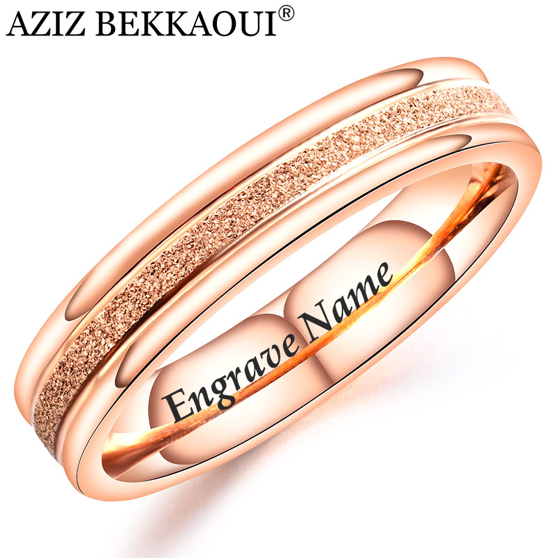 AZIZ BEKKAOUI Hot Sale Romantic Engrave Name Rose Gold Ring for Women Simple Style Stainless Steel Rings Engagement Jewelry