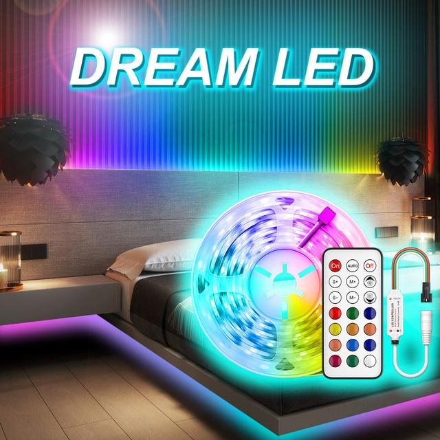 WS2811 LED 스트립 라이트 드림 컬러 RGB 램프 5M 10m 20M SMD 5050 비 방수 다이오드 DC 12V 어댑터 세트 Led 스트립 테이프 유연한