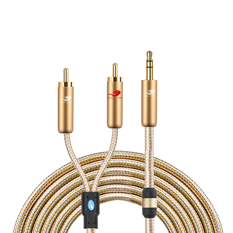 <font><b>3.5mm</b></font> Male to 2 <font><b>RCA</b></font> Male Stereo Audio Cable for Smartphone iPhone iPod MP3/<font><b>4</b></font> Receiver Amplifier Speaker <font><b>RCA</b></font> Y Splitter Cords image