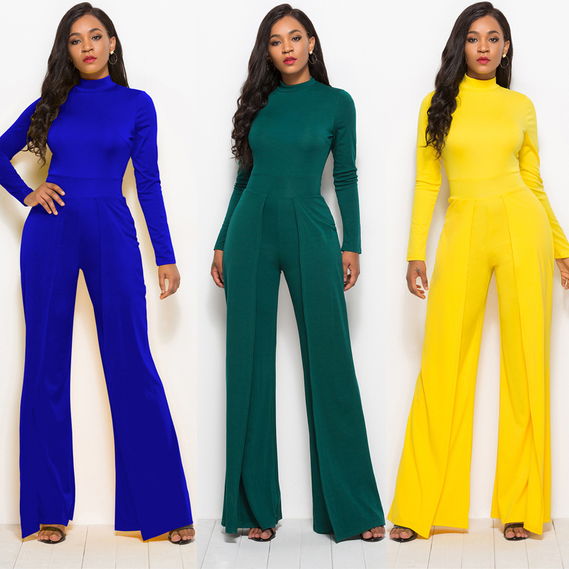 Women Jumpsuits Long Sleeve Wide Leg High Waist Cusual Solid Summer Autumn Fashion Basic Style Blue Green Female Yellow Overalls