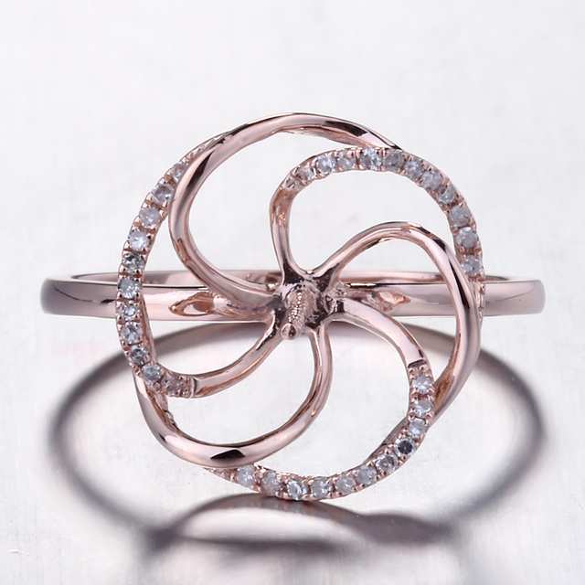 HELON الصلبة 14K ارتفع الذهب تمهيد الطبيعية الماس المشاركة الزفاف خاتم بدون فص وضع النساء غرامة مجوهرات صالح 8 11 مللي متر اللؤلؤ