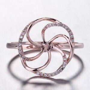 Image 1 - HELON Solido 14K Rose Gold Pave Diamante Naturale Cerimonia Nuziale Di Aggancio Semi Anello di Supporto Impostazione Donne Gioielleria Raffinata fit 8  11 millimetri Perla
