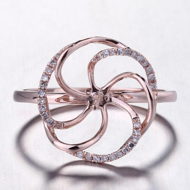 HELON Solido 14K Rose Gold Pave Diamante Naturale Cerimonia Nuziale Di Aggancio Semi Anello di Supporto Impostazione Donne Gioielleria Raffinata fit 8  11 millimetri Perla