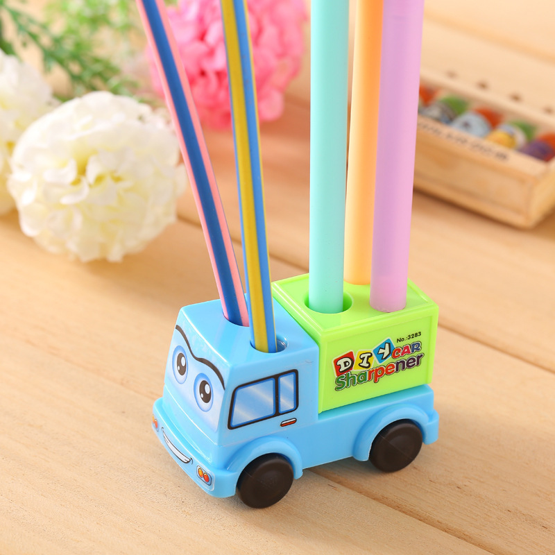 1pc Creative Stationery  Toy Turning Pencil Sharpener Multifunctional Pen Holder Standing Pen Holder For Kids Gifts
