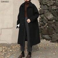 Cappotto lungo da donna in misto lana ispessimento moda Casual caldo All-match monopetto Slim soprabito colletto rovesciato classico Chic