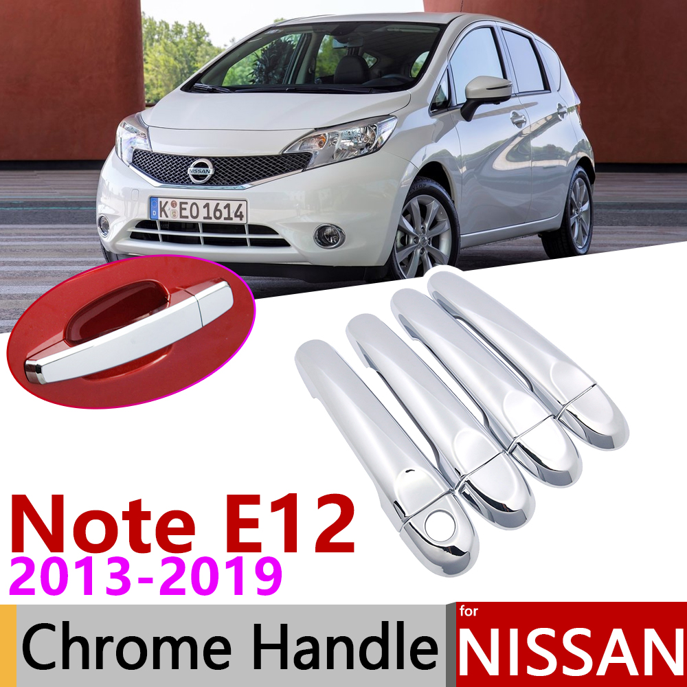 for Nissan Note E12 Versa Note 2013~2019 Chrome Door Handle Cover Car Accessories Stickers Trim Set 2014 2015 2016 2017 2018 Car Stickers     - title=
