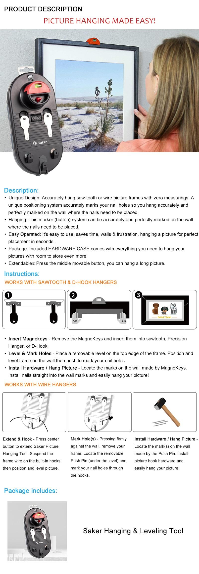 walls /& frustration best price Saker Picture Hanging Tool Kit  saves time