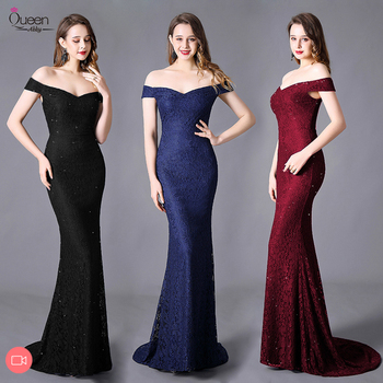 цена на Queen Abby Sweep Train Evening Dress Mermaid Off-shoulder Capped Sleeves V-neck Floor-length Lace Dress Zipper-up Dress