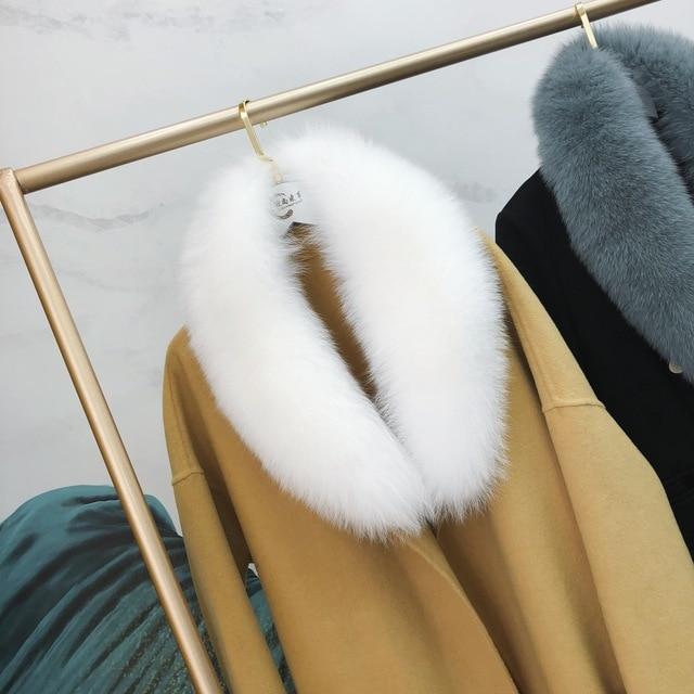 Ms.MinShu bufanda de cuello de piel de zorro genuino para mujer, bufanda de piel de zorro 100%, piel de zorro Natural, calentador de cuello, hecho a medida