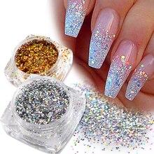 1 şişe Mini altıgen şekil lazer Shining Nail Art Glitter DIY parlak madeni pul İpuçları tırnak manikür pul pul dekorları BE025T