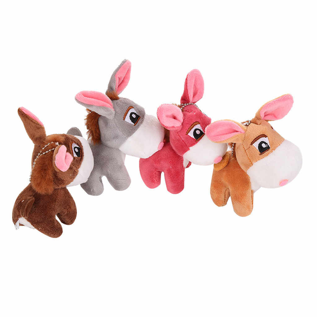 Kawaii Little Donkey Plush Keychain Toys Cute Mini Pendant Soft Stuffed Animals Doll Girls Toys Bag Pendant Backpack Accessories