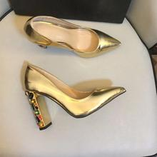 Womens high quality real leather pointed toe heels rhinestone heel party shoes Gold heeled pumps BY721